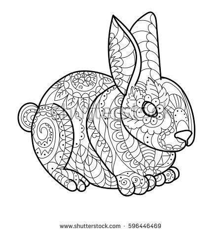 rabbit pattern drawing rabbit bunny coloring book vector illustration stock