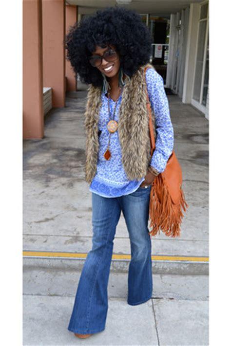 blue vintage bell bottom jeans head  strutting