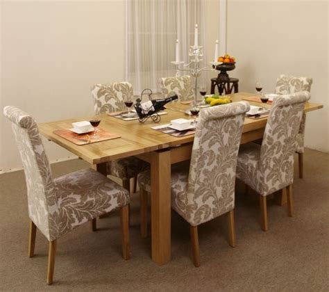 Dining Table With Fabric Chairs Dorset 4ft 7 Quot Extending Dining Table With Six Chagne Fabric Dining Chairs