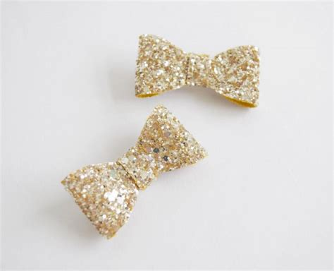 Wedding Hair Accessories Bow by Gold Glitter Hair Bow Clip Set Glitter Bow Wedding Hair