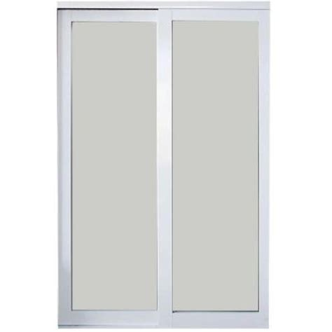 Aluminum Closet Doors Contractors Wardrobe 96 In X 96 In Eclipse White Finish Mystique Glass Aluminum Interior