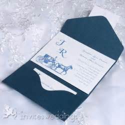 cheap vintage carriage blue pocket wedding invitations