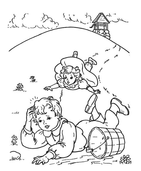 jack and jill nursery rhyme coloring page www imgkid com