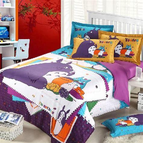 purple kids bedding 3d totoro purple kids cartoon bedding comforter set
