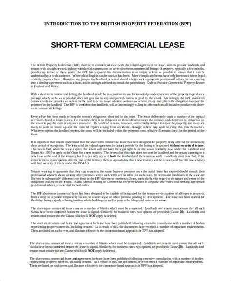 term lease agreement template commercial lease agreement 10 free pdf word documents