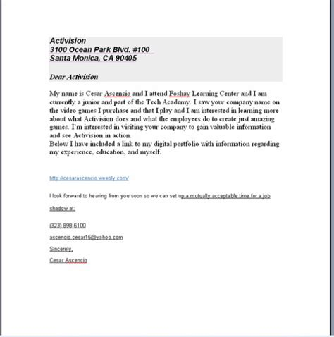 Business Letter Format For Junior High Sle Cover Letter Cesar Ascencio