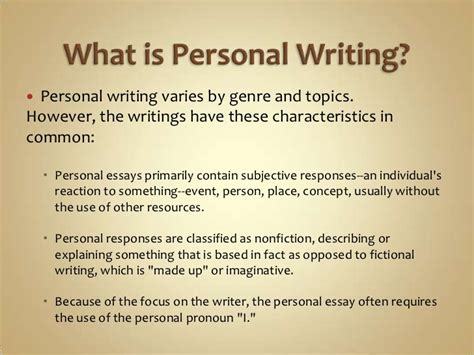 Personal Essay Writing by Personal Writing Power Point