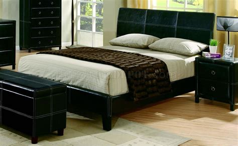 black leather bedroom sets black bycast leather contemporary 5pc bedroom set w stitchings