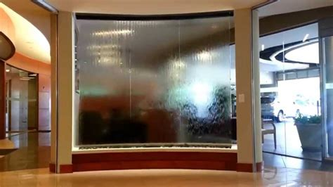 water wall waterfall feature custom glass water wall
