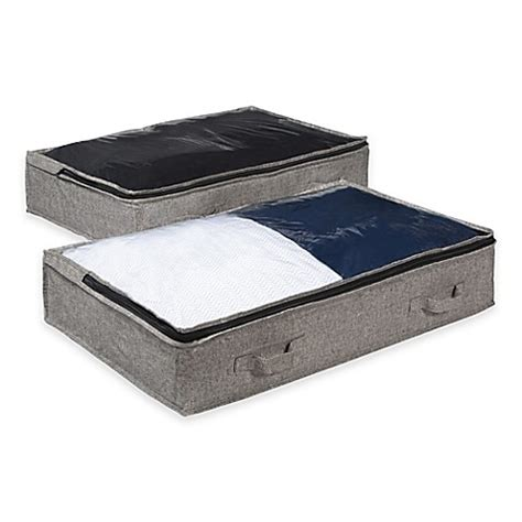 arrow bed arrow weave underbed bags in grey set of 2 bed bath