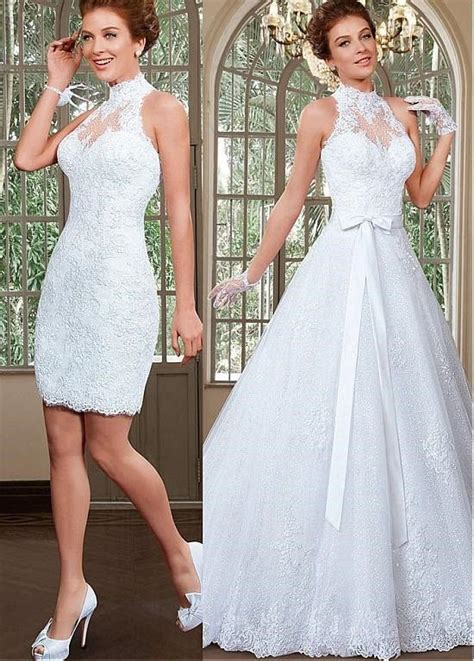 Wedding Dress With Detachable Skirt by A Line Princess High Neck Sequins Tulle Wedding Dress With