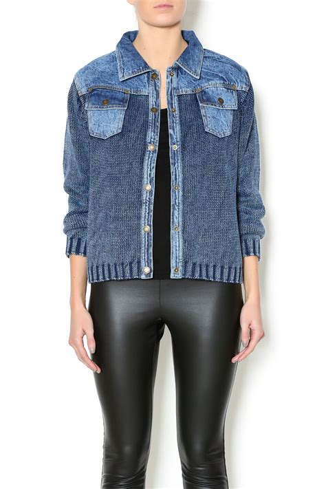 Vest Cardigan Denim pbj blues denim sweater jacket cardigan with buttons