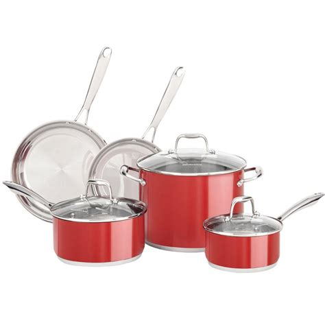 kitchenaid induction pans kitchenaid 8 stainless steel cookware set in empire kcss08er the home depot