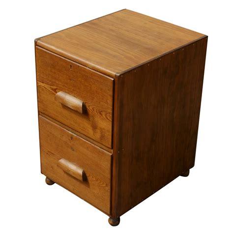 Oak File Cabinet 2 Drawer Mid Century Two Drawer Oak Filing Cabinet