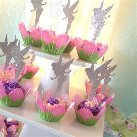 tinkerbell decorations ideas birthday party tinkerbelle tinkerbell glitter cupcake topper personalized tags gift
