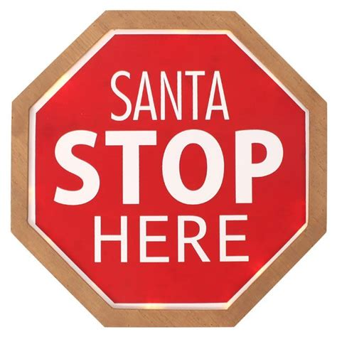 santa stop here led light up christmas freestanding sign