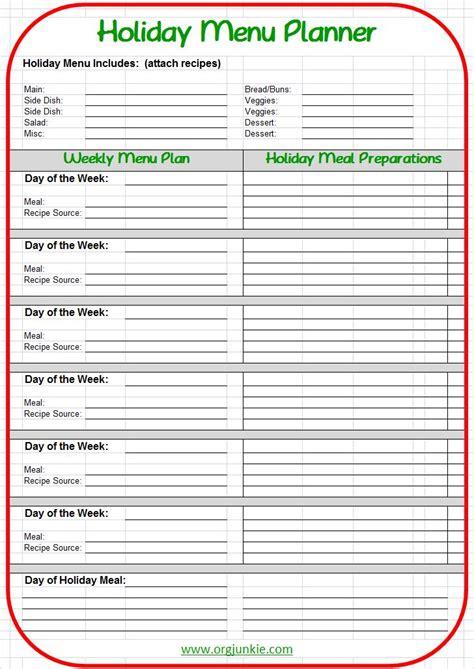 printable holiday menu planner printable menu planner homecoming hairstyles