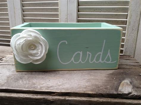 Wooden Wedding Gift Card Box - mint and white wedding cards box wooden wedding cards holder distressed wedding box