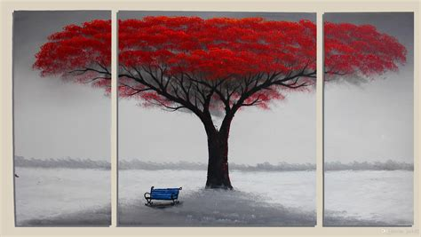 wall painting trees2018 2018 canvas handpainted tree painting large wall decoration wood frame inside ready to