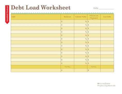 debt sheet template calculate your debt load worksheet