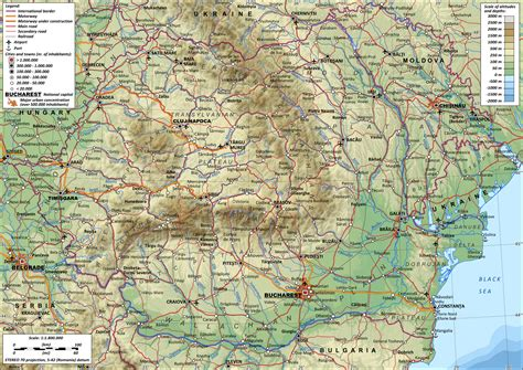 romania map with cities large detailed physical map of romania with roads and