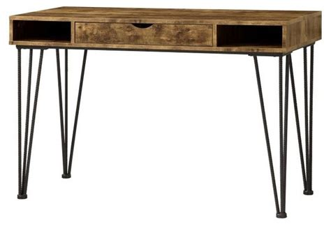 industrial antique nutmeg writing desk with metal rebar