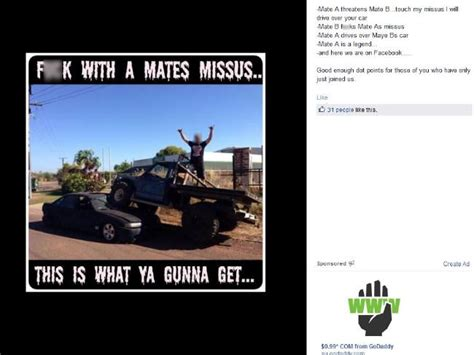 Ute Memes - nt man drives his 4wd on top of another man s car in