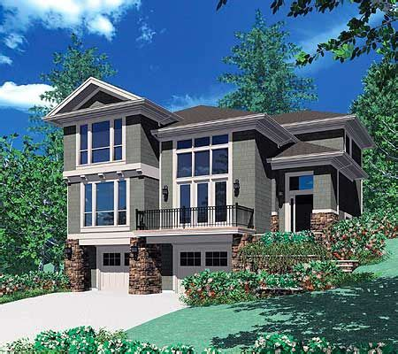 sloping lot house plans plan 6924am for a front sloping lot narrow lot house