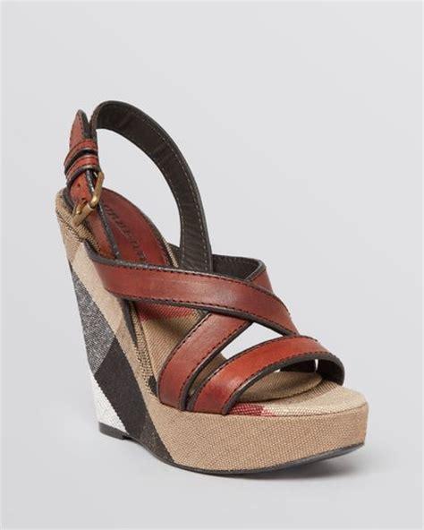 burberry wedge sandals burberry platform wedge sandals warlow in brown