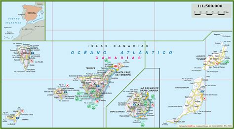 map of canary islands canary islands tourist map