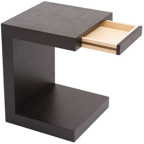Aurelle Home Carson Oak Espresso C Shaped End table   Free Shipping Today   Overstock.com   16669241