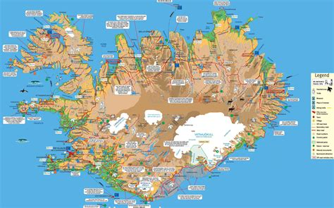 tourist map of iceland tourist map iceland mappery