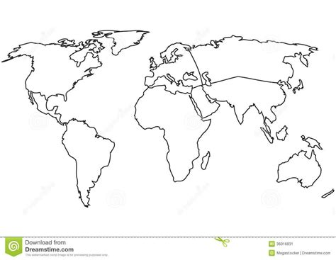 world map template for world continents map vector outline map 36016831 jpg map