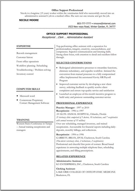 Resume Templates For Office by Office Resume Templates Madinbelgrade
