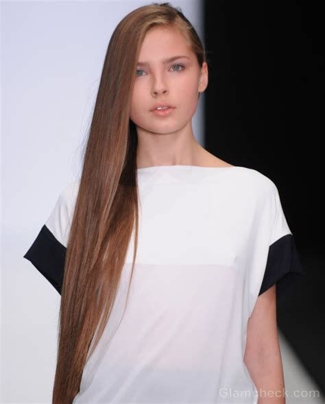 hairstyle   side swept straight long hair