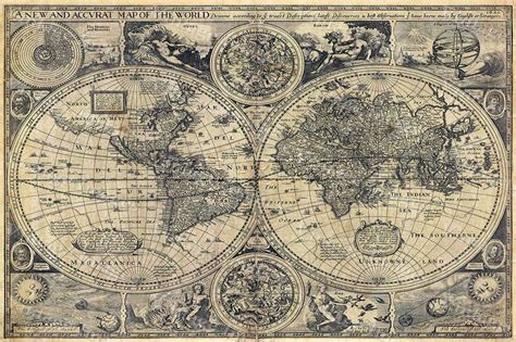 large historic 1626 map of the world old antique style