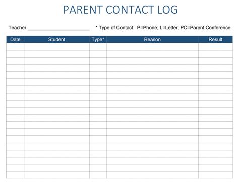 parent contact log template parent contact log template 5 free parent contact log