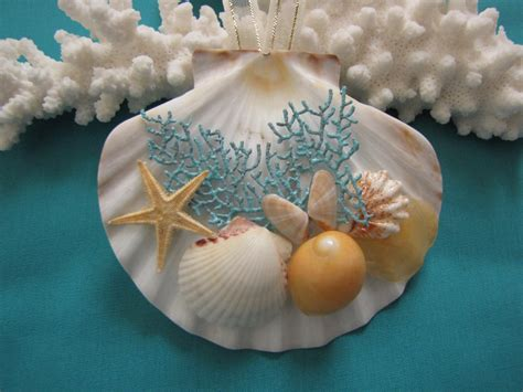 seashell ornament beach decor christmas ornament nautical