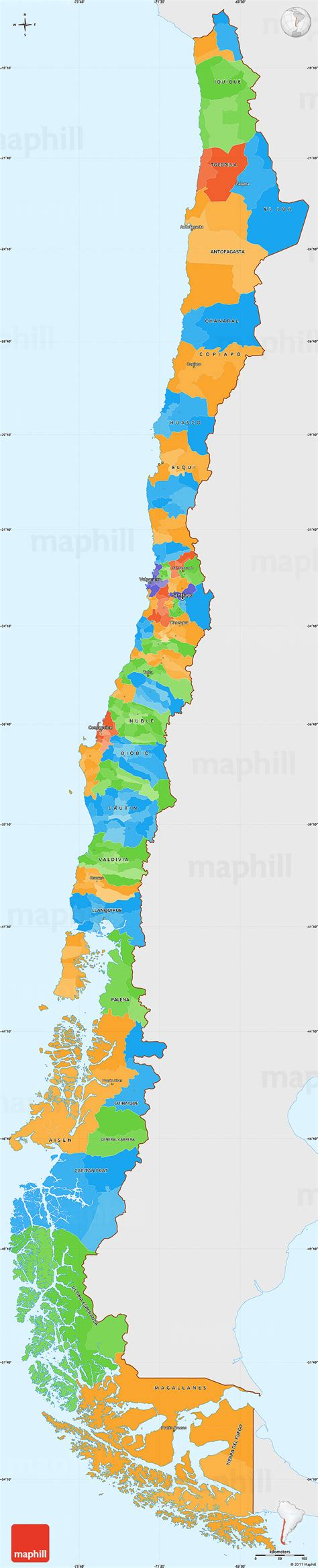 chile color political simple map of chile single color outside