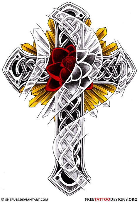 celtic cross rose tattoo 50 cross tattoos designs of holy christian