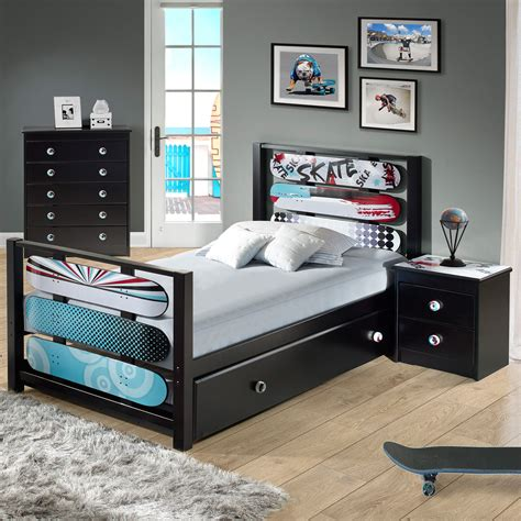 childrens pine bedroom furniture kickflip black solid pine mdf kids bedroom set the