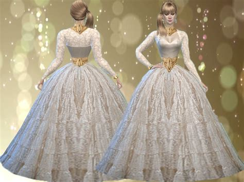 Ball Gown Sims 4 | trudieopp s lace off white ball gown mesh needed