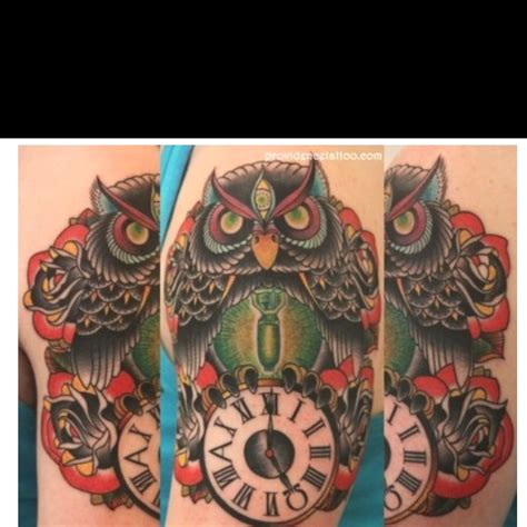 tattoo owl time owl time piece traditional tattoos tattoos pinterest