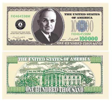 $100,000 Dollar Bills ( 10 - Pack ) Fake Play Money^ | eBay $100000 Bill