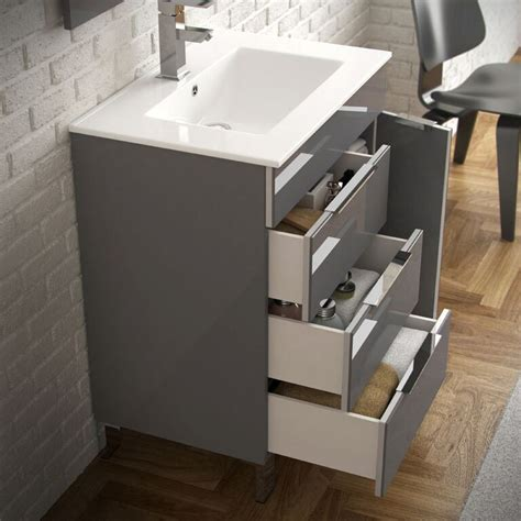 28 bathroom vanity with sink eviva geminis 174 28 quot grey modern bathroom vanity with white