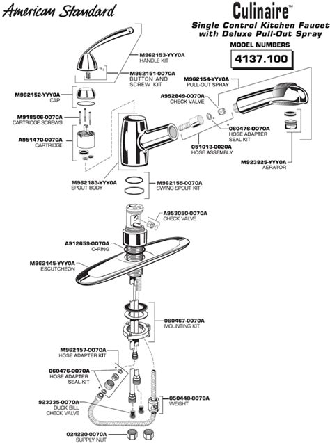 american standard 4175 300 parts list and diagram american standard kitchen faucet replacement pull out hose
