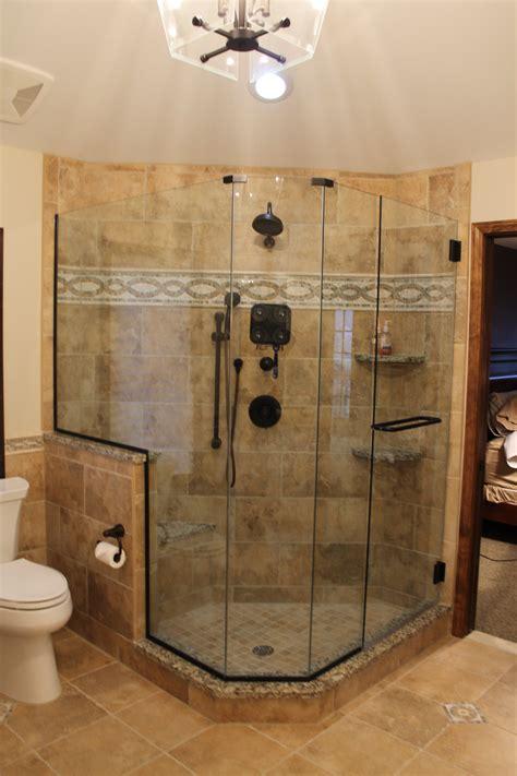 custom tile shower custom tiled shower with accent tile bronze