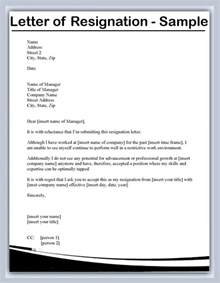 resignation letter voluntary resignation letter from