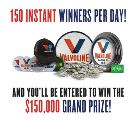 Instant Win Sweepstakes Giveaways - valvoline 150 instant win sweepstakes saralee s