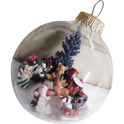 folk art clear glass christmas ornament winter scene 2